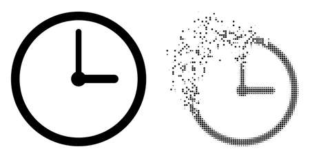 Dissolved dotted clock vector icon with wind effect, and original vector image. Pixel dissipating effect for clock demonstrates speed and movement of cyberspace objects.