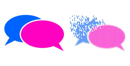 Dispersed pixelated chat vector icon with wind effect, and original vector image. Pixel degradation effect for chat demonstrates speed and motion of cyberspace concepts. 矢量图像