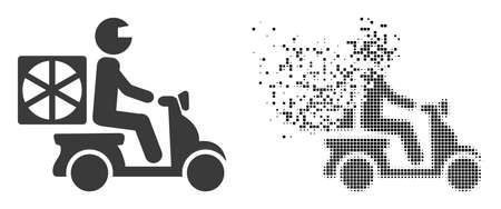 Dispersed dotted pizza motorbike delivery vector icon with destruction effect, and original vector image.