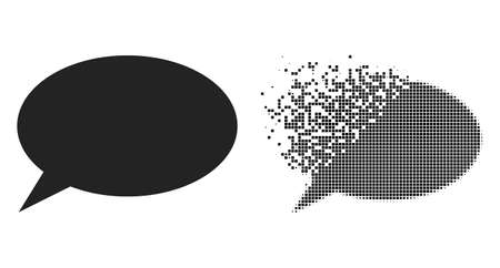 Dispersed dotted chat cloud vector icon with destruction effect, and original vector image. Pixel dissolving effect for chat cloud shows speed and motion of cyberspace items. 矢量图像
