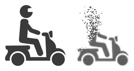 Dispersed pixelated motorbike driver vector icon with wind effect, and original vector image. Pixel disappearing effect for motorbike driver shows speed and movement of cyberspace objects.