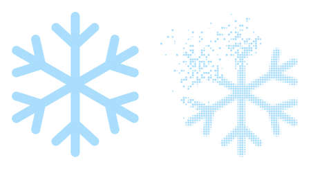 Fractured pixelated snowflake vector icon with destruction effect, and original vector image. Pixel dissolving effect for snowflake shows speed and movement of cyberspace abstractions.