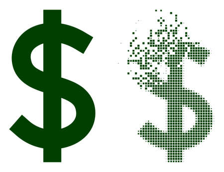 Dispersed dotted dollar vector icon with wind effect, and original vector image. Pixel disintegrating effect for dollar demonstrates speed and motion of cyberspace matter. 矢量图像