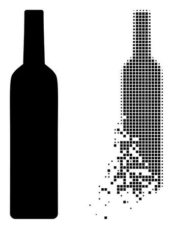 Fractured dot wine bottle vector icon with wind effect, and original vector image. Pixel defragmentation effect for wine bottle shows speed and motion of cyberspace things.