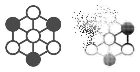 Dispersed pixelated blockchain vector icon with destruction effect, and original vector image. Pixel disintegration effect for blockchain shows speed and movement of cyberspace items.