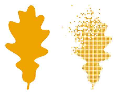 Dissolved dot oak leaf vector icon with wind effect, and original vector image. Pixel burst effect for oak leaf demonstrates speed and movement of cyberspace items.