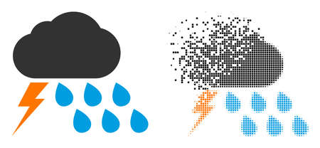 Fractured dotted thunderstorm weather vector icon with destruction effect, and original vector image.
