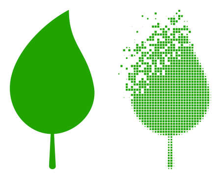 Dispersed dotted floral leaf vector icon with destruction effect, and original vector image. Pixel destruction effect for floral leaf shows speed and motion of cyberspace matter. 矢量图像