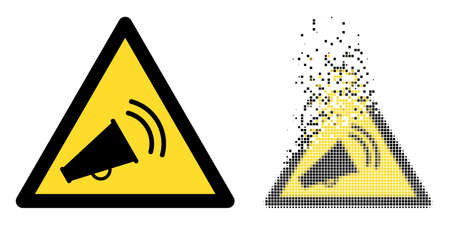 Fractured pixelated marketing noise warning vector icon with wind effect, and original vector image.