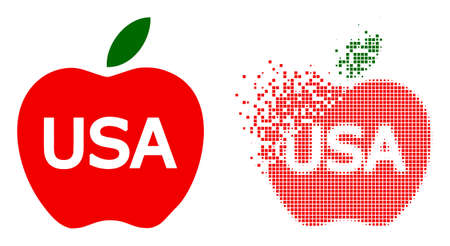 Dispersed dot American apple vector icon with wind effect, and original vector image. Pixel dissipating effect for American apple shows speed and motion of cyberspace matter. 矢量图像