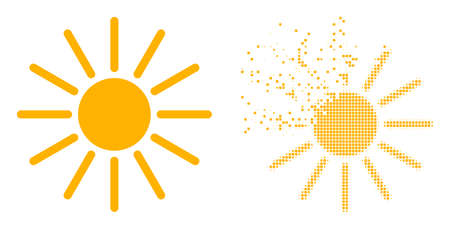 Dispersed pixelated sun vector icon with destruction effect, and original vector image. Pixel burst effect for sun shows speed and movement of cyberspace items.