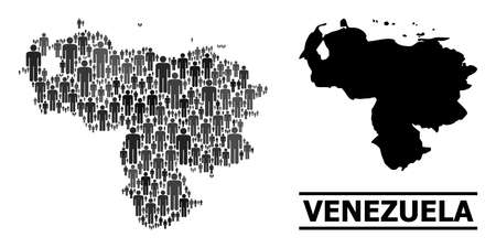 Map of Venezuela for social projects. Vector demographics collage. Collage map of Venezuela composed of human pictograms. Demographic concept in dark gray color hues.