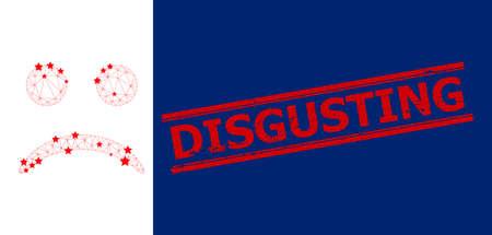Mesh sad smiley polygonal icon vector illustration, and red DISGUSTING textured stamp imitation. Model is based on sad smiley flat icon, with stars and polygonal mesh. Ilustração Vetorial
