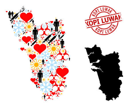 Rubber Kopi Luwak stamp, and winter people syringe collage map of Goa State. Red round stamp includes Kopi Luwak title inside circle. Vetores