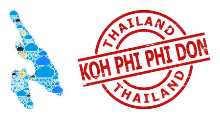 Climate mosaic map of Koh Phi Phi Don, and rubber red round stamp seal. Geographic vector mosaic map of Koh Phi Phi Don is done with scattered rain, cloud, sun, thunderstorm icons.