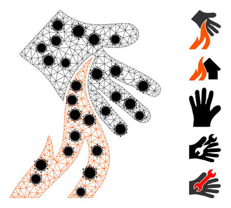 Mesh burn hand polygonal icon vector illustration, with black virus centers. Carcass model is based on burn hand flat icon, with virus elements and triangle mesh. 矢量图像