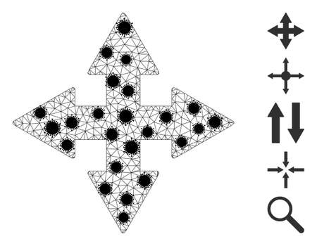 Mesh expand arrows polygonal 2d vector illustration, with black infectious centers. Abstraction is created from expand arrows flat icon, with infectious centers and triangle mesh.