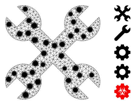 Mesh repair spanners polygonal icon vector illustration, with black infection items. Carcass model is created from repair spanners flat icon, with virus items and triangle mesh. 矢量图像
