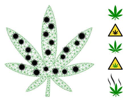 Mesh marijuana polygonal symbol vector illustration, with black infection elements. Model is based on marijuana flat icon, with  virus elements and polygonal mesh.