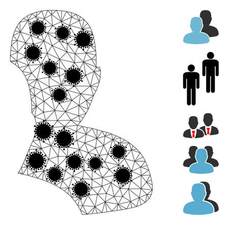 Mesh users polygonal 2d vector illustration, with black virus nodes. Model is created from users flat icon, with infectious nodes and polygonal mesh.