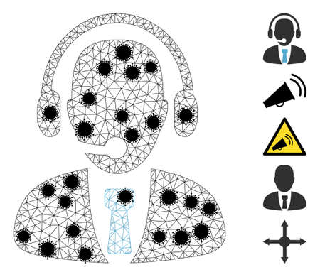Mesh call center operator polygonal icon vector illustration, with black infectious items. Carcass model is created from call center operator flat icon, with virus centers and triangular mesh.