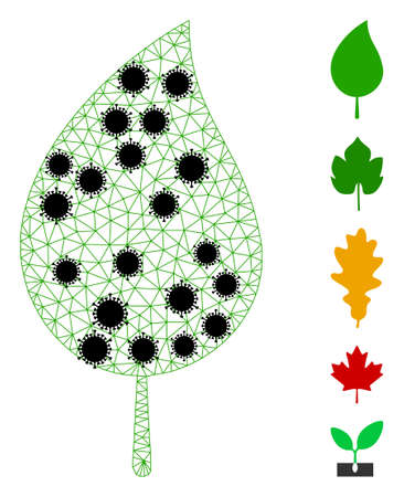 Mesh floral leaf polygonal icon vector illustration, with black  items. Carcass model is created from floral leaf flat icon, with infection items and polygonal mesh.