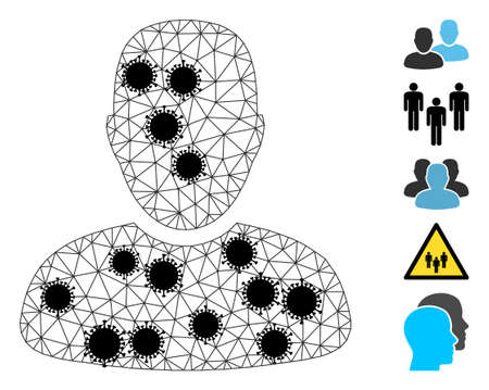 Mesh clients polygonal icon vector illustration, with black virus nodes. Model is created from clients flat icon, with virus centers and triangle mesh. Triangle mesh forms abstract clients flat model. 矢量图像