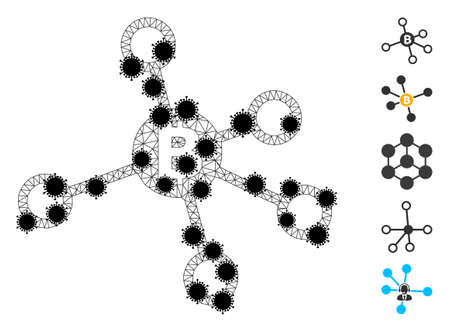 Mesh bitcoin nodes polygonal icon vector illustration, with black infection nodes. Abstraction is created from bitcoin nodes flat icon, with infection nodes and polygonal mesh.
