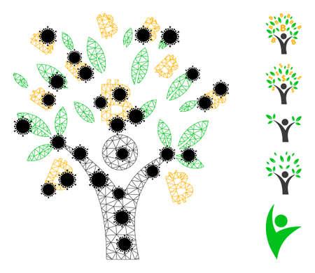 Mesh bitcoin tree man polygonal icon vector illustration, with black  virus nodes. Carcass model is created from bitcoin tree man flat icon, with infectious nodes and triangular net.