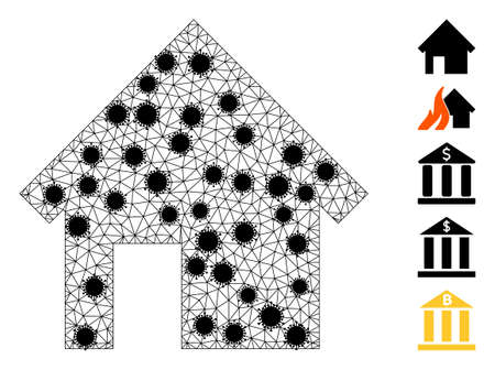Mesh house polygonal icon vector illustration, with black  virus nodes. Carcass model is created from house flat icon, with infection nodes and triangular mesh. 矢量图像