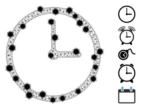 Mesh clock polygonal icon vector illustration, with black virus elements. Carcass model is based on clock flat icon, with virus items and polygonal net.