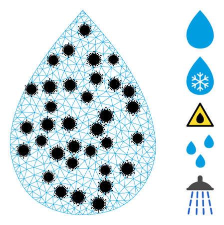 Mesh water drop polygonal 2d vector illustration, with black infection centers. Abstraction is created from water drop flat icon, with infection elements and polygonal mesh.