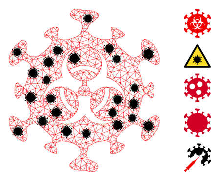 Mesh biohazard virus polygonal 2d vector illustration, with black elements. Model is based on biohazard coronavirus flat icon, with virus elements and polygonal mesh. 向量圖像