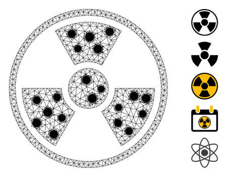Mesh radioactive symbol polygonal icon vector illustration, with black  items. Carcass model is based on radioactive symbol flat icon, with covid nodes and polygonal mesh.