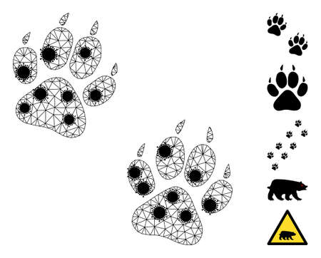 Mesh tiger fingerprints polygonal icon vector illustration, with black infectious items. Model is based on tiger fingerprints flat icon, with infection items and triangle mesh.