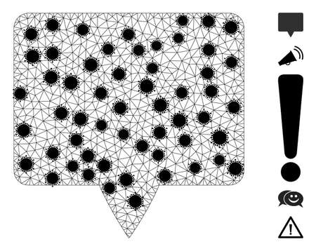 Mesh banner polygonal 2d vector illustration, with black infection nodes. Carcass model is created from banner flat icon, with  virus centers and triangular mesh.