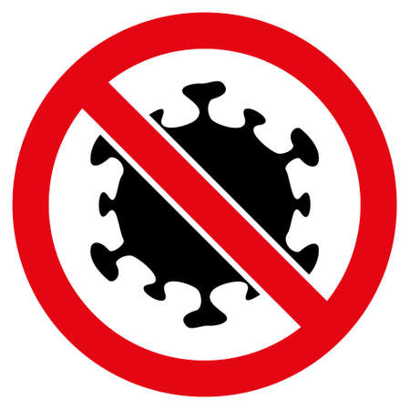 Stop covid virus icon with flat style. Isolated vector stop covid virus icon image on a white background.