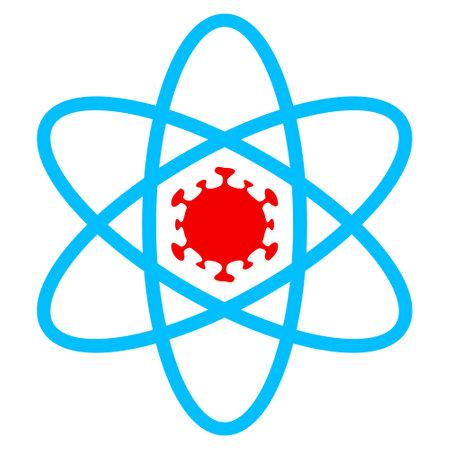 Virus atom icon with flat style. Isolated vector virus atom icon image on a white background.
