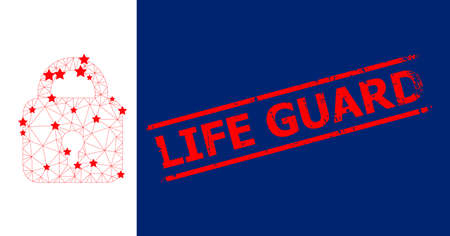 Mesh lock polygonal 2d vector illustration, and red LIFE GUARD rubber print. Carcass model is based on lock flat icon, with stars and triangular mesh.
