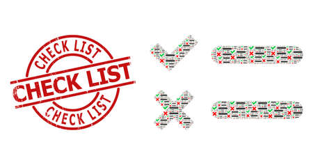 Red round stamp includes Check List tag inside circle. Vector checklist composition is done from randomized itself checklist icons. Rubber Check List stamp seal,