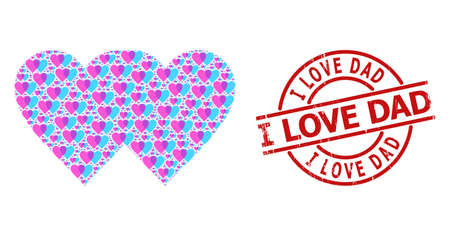 Red round stamp seal contains I Love Dad title inside circle. Vector lovely hearts fractal is composed of random fractal lovely hearts items. Distress I Love Dad stamp seal, Vektoros illusztráció