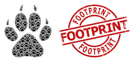 Red round stamp includes Footprint caption inside circle. Vector tiger footprint composition is done from randomized recursive tiger footprint pictograms. Textured Footprint badge,