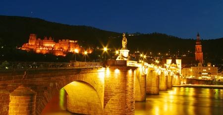 Heidelberg Castle and Old Bridge at night