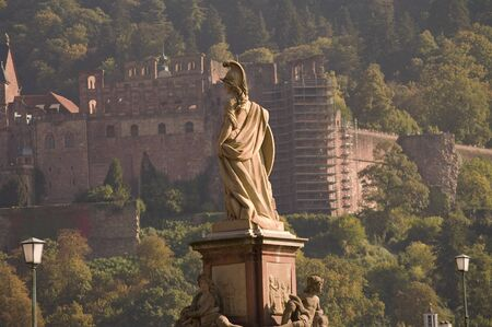 Statue of Minerva on the Old Bridge in Heidelberg, Germany photo