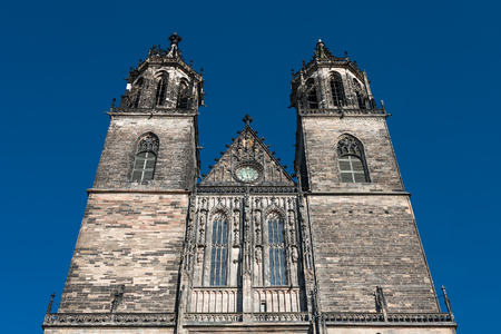 Cathedral of Magdeburg at river Elbe, Germany, summer 2014 photo