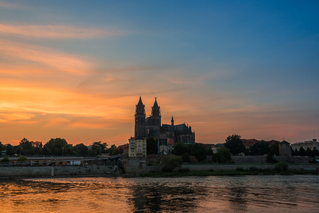 Cathedral of Magdeburg at the river Elbe at sundown, Magdeburg, Germany, 2014 photo