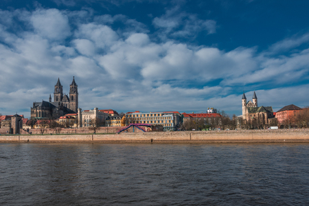 Panorama of an old town, Altstadt, of Magdeburg, Germany, 2014 photo