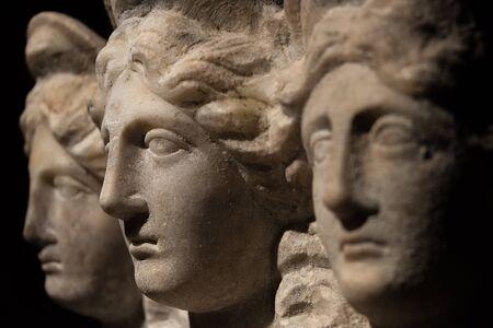 Three headed roman-asian ancient statue of beautiful women, 2014