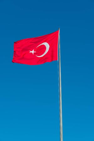 middle east peace: Turkish national flag at blue-blue sky, 2014