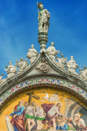 Decoration Elements at roof of Basilica San Marco in Venice, Italy, summer